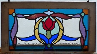 Victorian tulip flower leaded stained glass window
