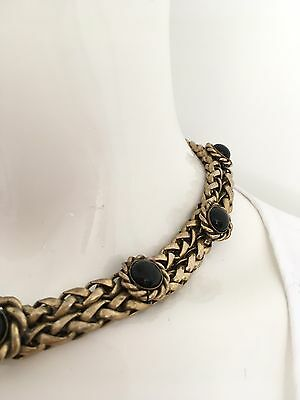 Butler And Wilson Original Vintage Gold Tone Chain Necklace With Black Stones