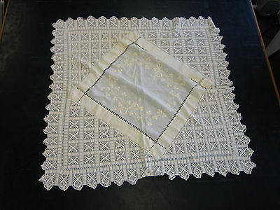 Vintage cream cotton table cloth with crocheted edge and embroidery