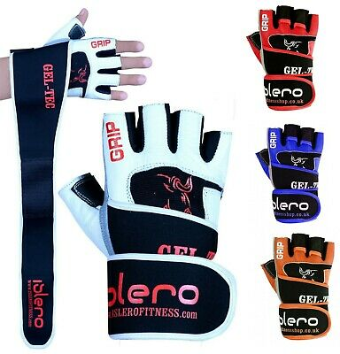 EVO Fitness Leather Weightlifting Gloves Neoprene Gym Straps Wrist Support Wraps
