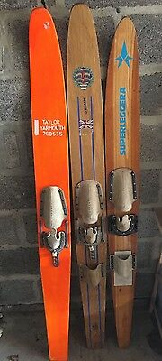 3x vintage wooden water skis for display - various brands inc Kathro