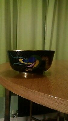 Vintage Chinese Bronze and Cloisonné Bowl, Dragon Design