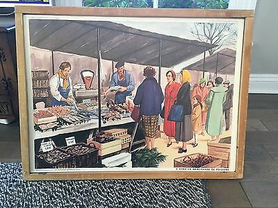 vintage les editions rossignol School wall chart of  FISH MARKET & CARPENTERS