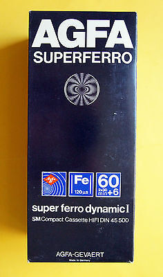 15x AGFA SUPERFERRO Fe 60+6  Type I Cassette Tape 1979 + OVP + SEALED + IN BOX +