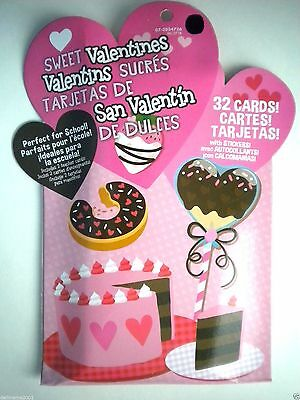 PKG. OF 32 SWEET VALENTINES CARDS WITH STICKERS ~ Includes 2 Teacher Cards