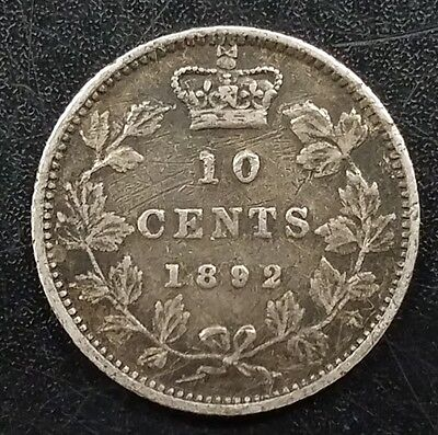 1892 Canada 10 cents silver coin, small 9, obverse #5!