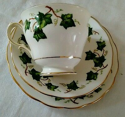 Colclough Ivy Leaf Bone China Tea Cup, Saucer & Side Plate -Trio