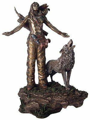 Native American Indian Praying w/ Open Arms Figurine Statue Sculpture