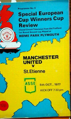 Man Utd V St Etienne 5/10/1977 Ecwc, Tv Relay From Game Played @ Plymouth