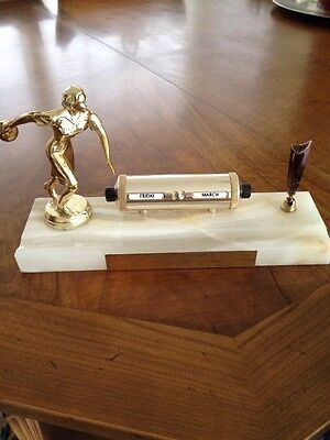 Rare Vintage 1963 Ladies Marble Bowling Trophy Perpetual Calendar Pen Holder