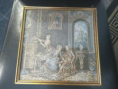 Framed Vintage Tapestry Needlework Picture...Victorian scene ornate and detailed