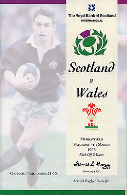 Scotland vs Wales Murrayfield 4 March 1995 Rugby Union programme and ticket
