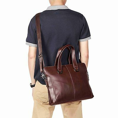 Men's Leather Crossbody Messenger Shoulder Bags Briefcase Work Business Coffee