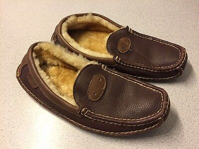 Mens 12 D Cabela's Brown Leather w/ Shearling Slippers Shoes Moccasin