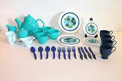 Large Set Of Vintage Childs Play Dishes- Service For 4 Dinner Set And Tea Set