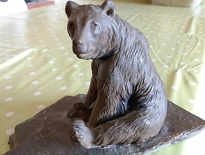 Fantastic Antique Cold Painted Bronze Bear Mounted On Slate