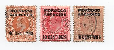 MOROCCO AGENCIES 10/40 CENTIMOS overprints on 3 GB Edward VII stamps used
