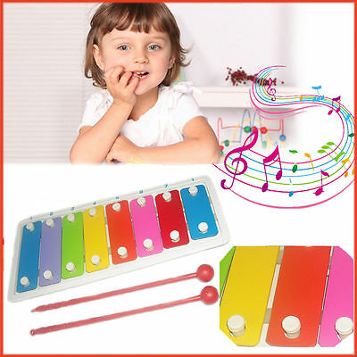 Kids Metal Xylophone Educational Music Game Play 8 Notes Age3+ Colorful Gift Set