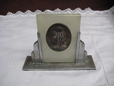 Vintage Escudero Onyx Plaque Of The Virgin Mary With Lilies In Art Deco Stand