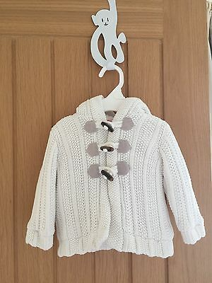 Baby Knitted Jacket White Angora Style Fleece Lined 3 - 6 months