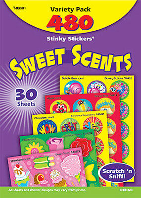 480 Sweet Scents Scratch and Sniff Stinky Stickers TREND Variety Pack