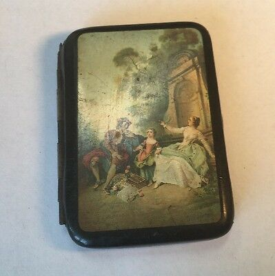 Antique Celluloid Germany Cigarette Case With Royalty Scene
