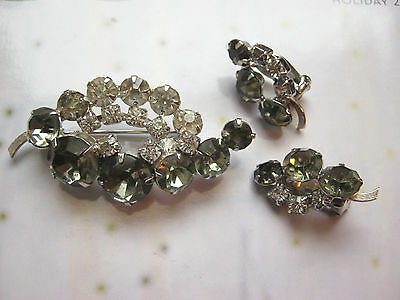 Continental vintage signed rhinestone brooch & matching clip on earrings