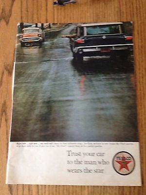 """1963 Texaco ad w/ a Chevy in the picture, Life Magazine Print Ad 10.5""""x14"""""""