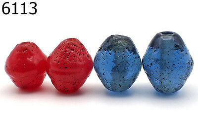 Lot 4 Vintage Red & Blue Islamic Patina Bicone Glass Bead Old Handmade #6113