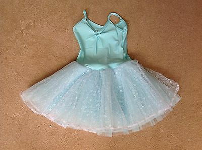 Girls competition dance leotard, turquoise with net ballet style skirt, size 1