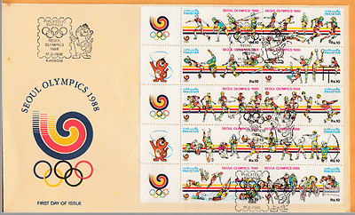 SEOUL OLYMPICS 1988 Pakistan 10 stamps Table Tennis Badminton et First Day Cover