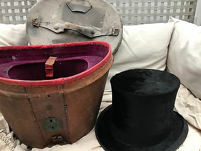 Antique  Top Hat Silk  Medium -  Large   Tress & Co London Original Leather Box