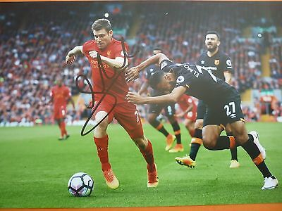Liverpool James Milner hand signed photo 12x8
