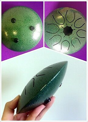 "WuYou Hand tuned 5"" 13cm UFO Chakra drum,C major scale,Gem Green, Sound Healing"