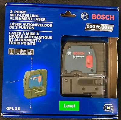 Bosch GPL 3 S 3-Point Laser Alignment with Self-Leveling NEW FREE SHIPPING