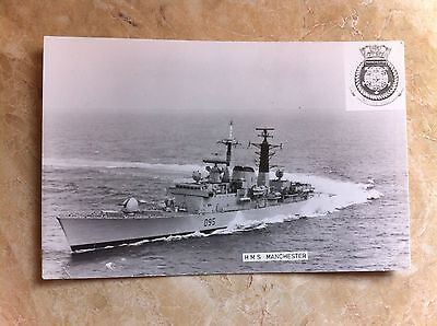 HMS Manchester. Real Photographic Postcard