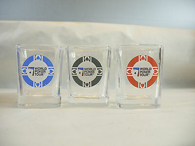 World Poker Tour Shot Glasses  lot of 3 in box