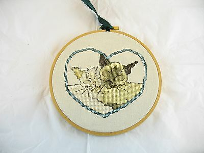 Two Cats in heart cross stitch handmade