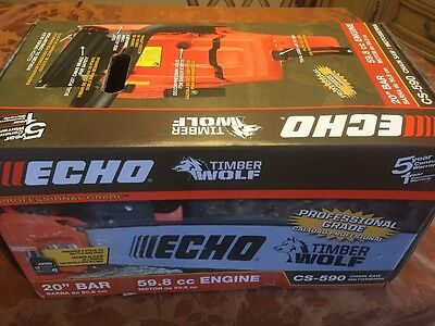 "Brand New ECHO CS-590 Timber Wolf 20"" Bar 59.8cc Commercial Grade Chainsaw"