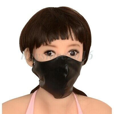 Slave Mask Roleplay PU Leather Half Face Hood Harness Mouth Gag Mask Restraint