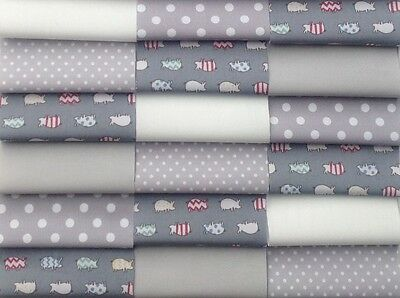 "Fabric patchwork squares 30 x 4"" 10cm cotton quilting craft baby silver grey 8P"