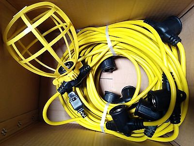 100 ft Temporary Light String Construction Bulb Cages 14/2 Male/Female