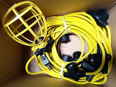 100 ft Temporary Light String Work Construction Bulb Cages 14/2 Male