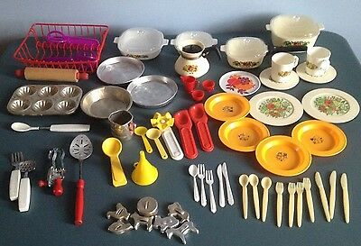 Vintage Doll Dishes Corning Fisher-Price Barbie Chilton Baking Pans Egg-Beater