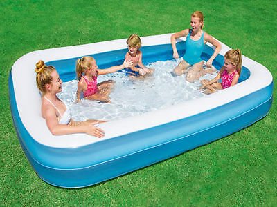 Bestway Large Delux Rectangular Inflatable Swimming Pool Family Paddling Garden