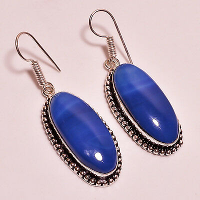 Blue Botswana Agate Gemstone .925 Sterling Silver Earrings 2.2""