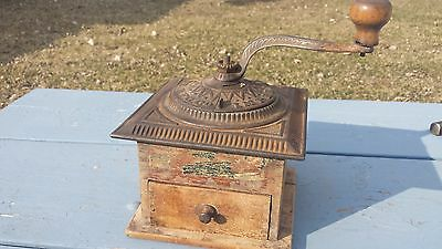 Antique Imperial Arcade Hand Crank Coffee Mill Grinder w/ Drawer Farm Kitchen