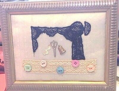 Framed Collage Of A Sewing Machine Lace