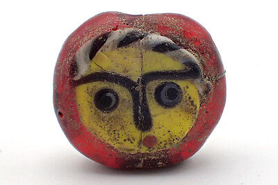 Unique NAMO Yellow Face Old Islamic Mosaic Red Glass Coin Bead Middle East #5250