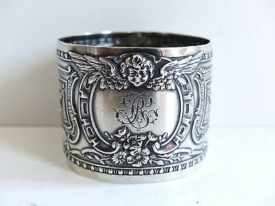 SUPERB ANTIQUE FRENCH ALL STERLING SILVER 950 NAPKIN RING w. CHERUB